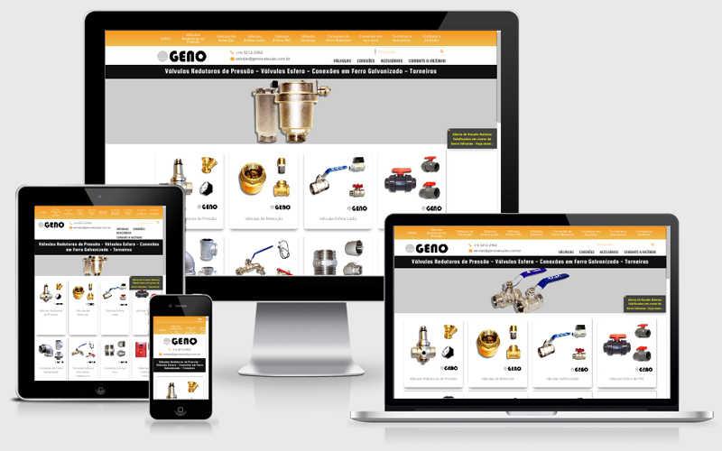 Para atender amplamente o seu público-alvo, a Geno Válvulas criou o site de catálogo eletrônico virtual que mostra o seu portfólio completo de produtos.