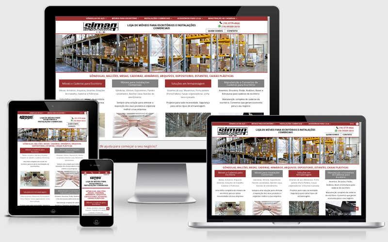 Para a Simaq Móveis para Escritório, a Agenzzia criou um catálogo virtual organizado com detalhes exclusivos dos móveis comercializados para os clientes da loja. O site foi criado para tornar a navegabilidade fácil e rápida para o usuário.